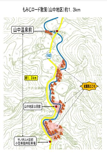 山中地区の散策コース
